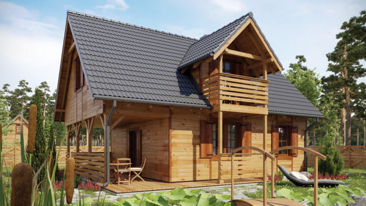 Проект мансардного дома с террасой S83 - фото №1