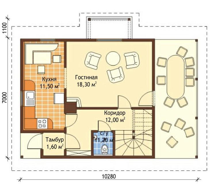 План 1 этажа мансардного дома с террасой S83