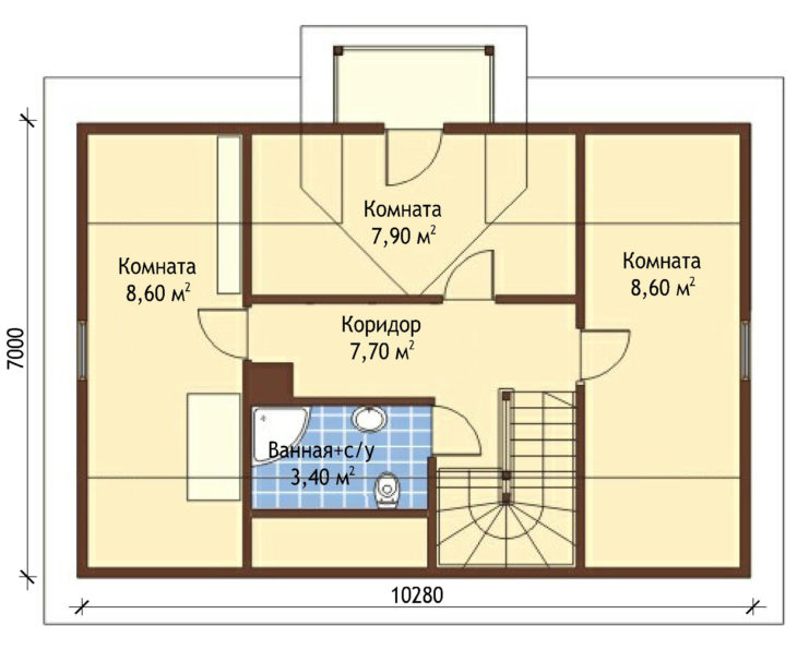 План 2 этажа мансардного дома с террасой S83