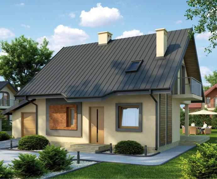 Проект мансардного дома с террасой и гаражом S85 - фото №1