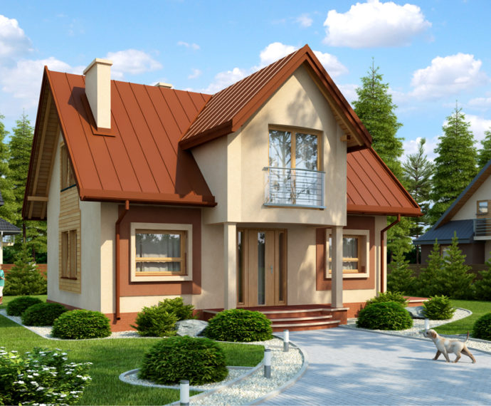 Проект мансардного дома с террасой S86 - фото №1
