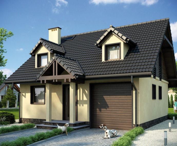 Проект мансардного дома с гаражом S87 - фото №1