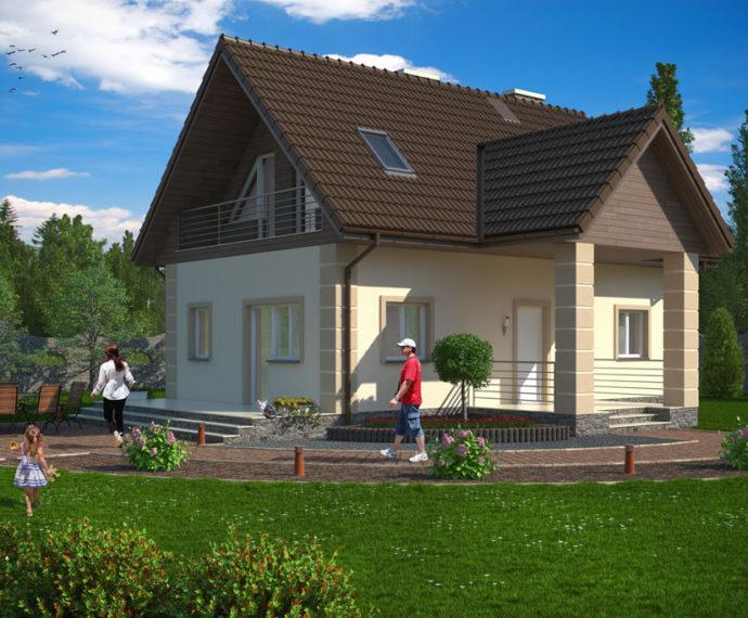 Проект мансардного дома с террасой S88 - фото №4
