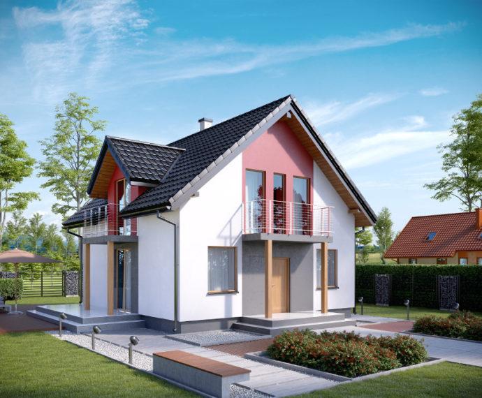 Проект мансардного дома с террасой S90 - фото №1