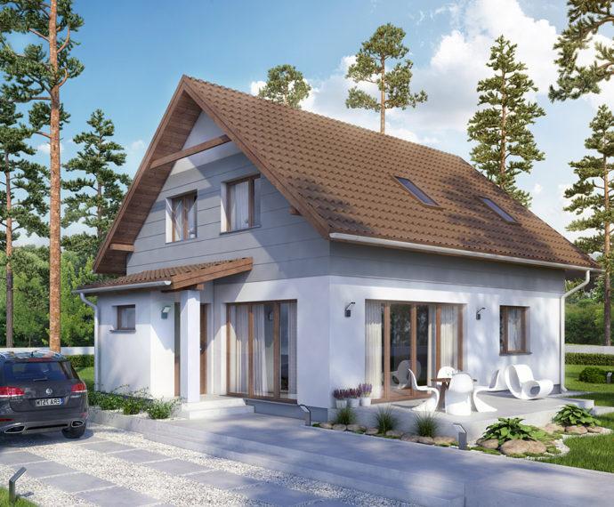 Проект мансардного дома с террасой S91 - фото №1