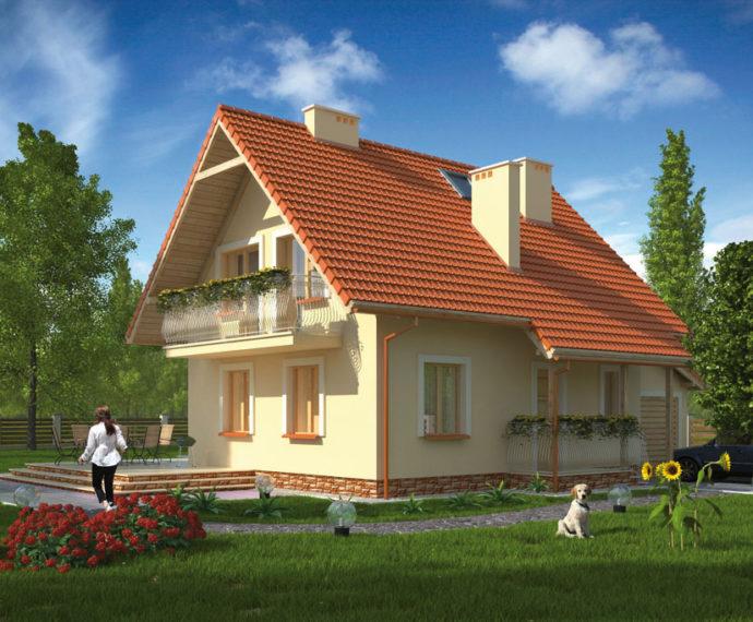 Проект мансардного дома с гаражом S92 - фото №1