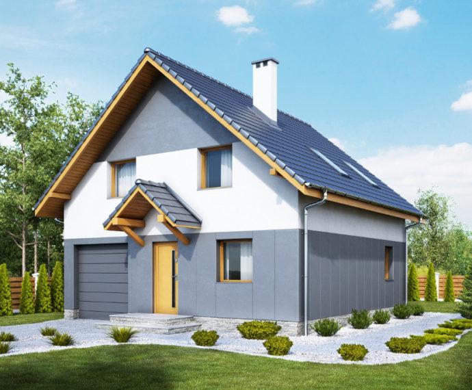Проект мансардного дома с террасой и гаражом S93 - фото №1