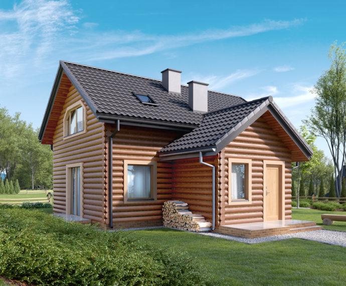 Проект мансардного дома с террасой S94 - фото №1