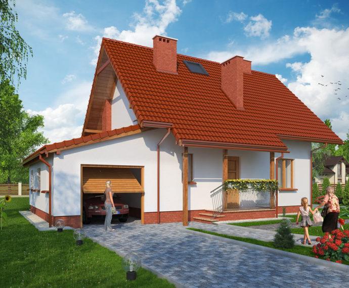Проект мансардного дома с террасой и гаражом S96 - фото №1