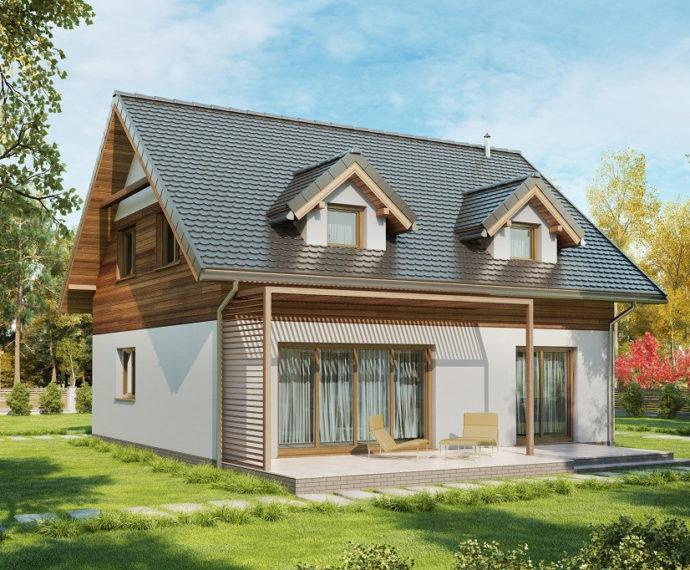 Проект мансардного дома с террасой S97 - фото №1