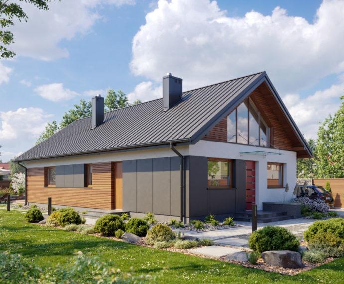 Проект мансардного дома с террасой S98 - фото №1