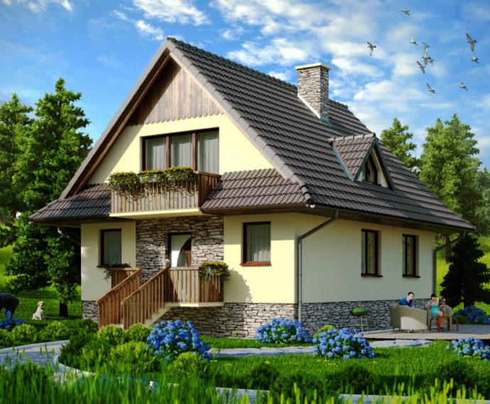 Проект мансардного дома с террасой S99 - фото №1