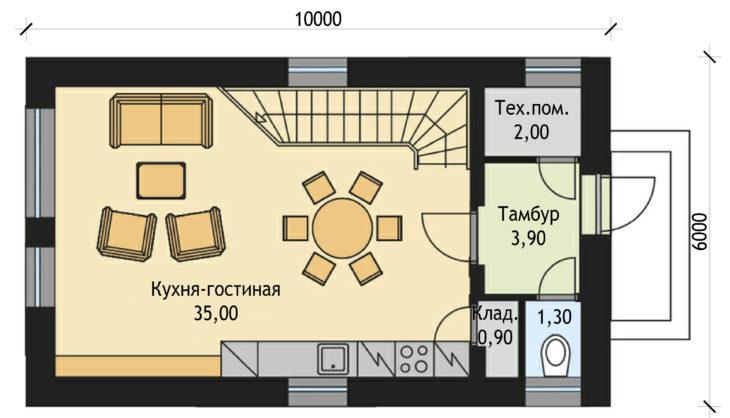 План 1 этажа двухэтажного дома V23