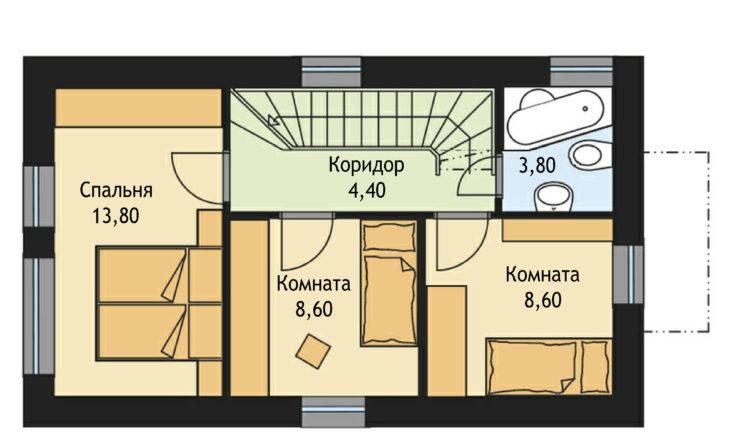 План 2 этажа двухэтажного дома V23