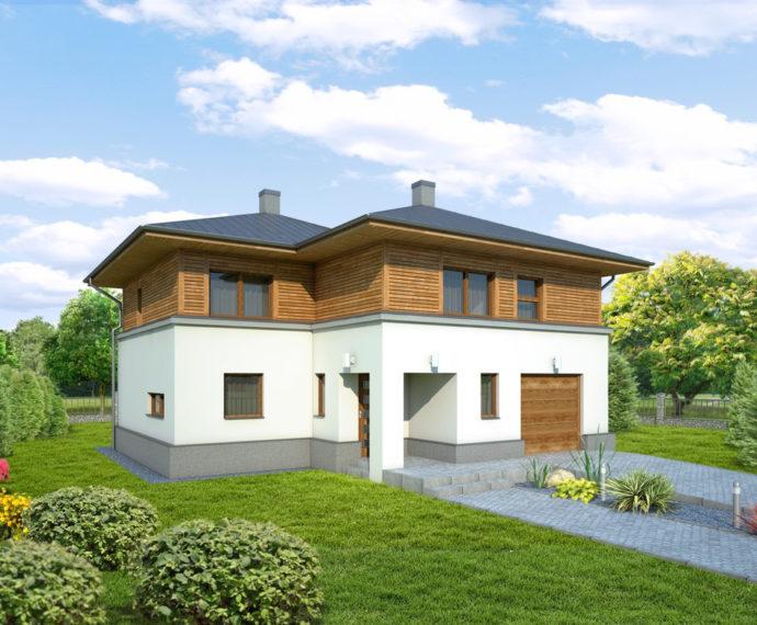 Проект двухэтажного дома с гаражом V31 - фото №1