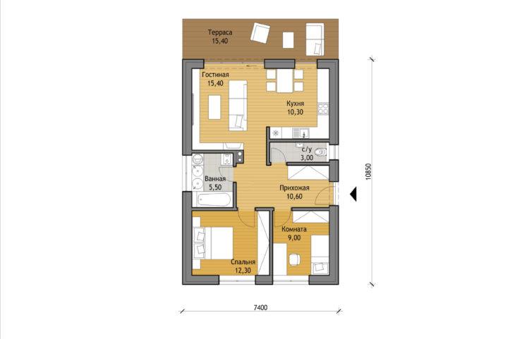 План этажа одноэтажного дома с террасой P105