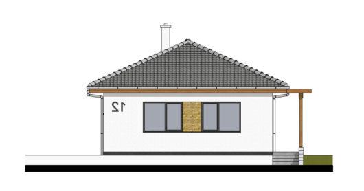 Фасад одноэтажного дома с террасой P105 - вид спереди