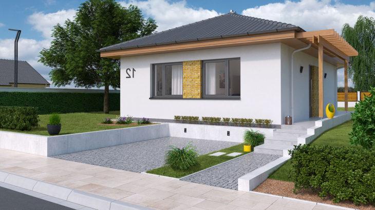 Проект одноэтажного дома с террасой P105 - фото №1