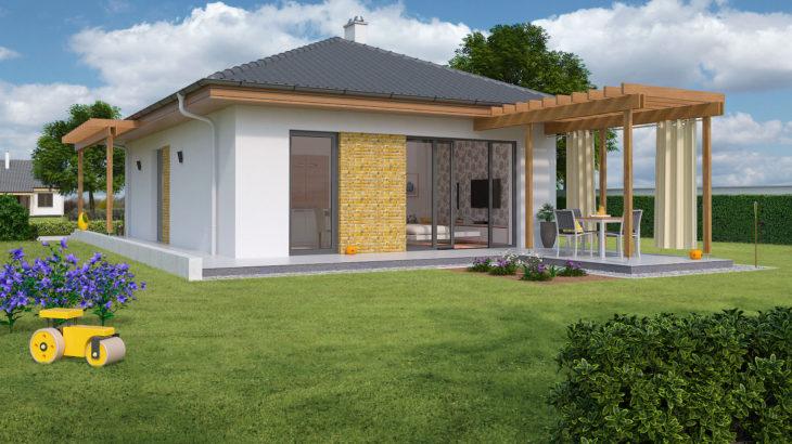 Проект одноэтажного дома с террасой P105 - фото №2
