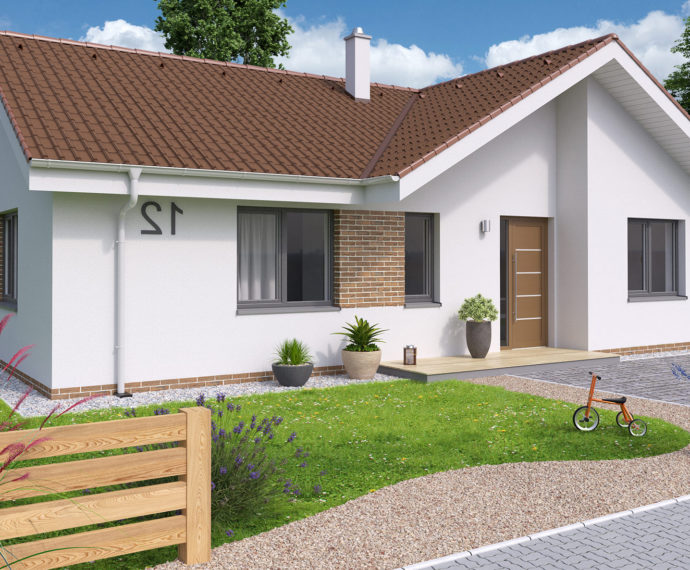 Проект одноэтажного дома с террасой P109 - фото №1