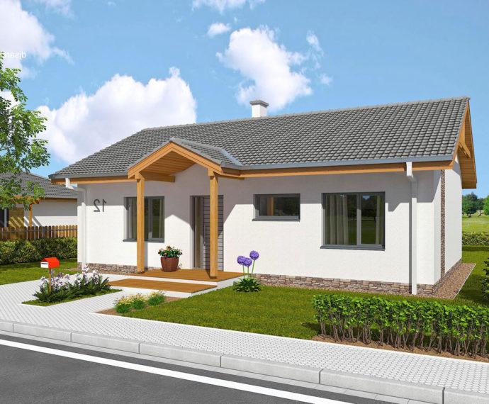 Проект одноэтажного дома с террасой и гаражом P110 - фото №1