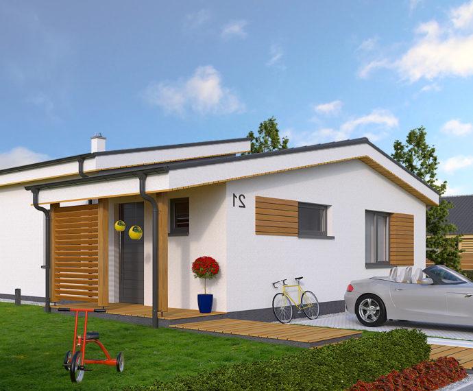 Проект одноэтажного дома с террасой P111 - фото №1