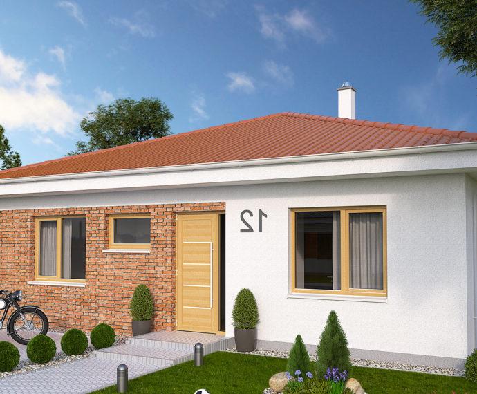 Проект одноэтажного дома с террасой P113 - фото №1