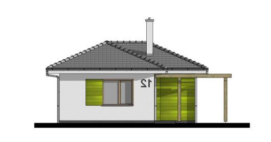 Фасад одноэтажного дома с террасой P114 - вид спереди