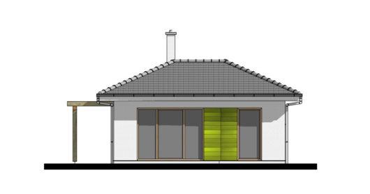 Фасад одноэтажного дома с террасой P114 - вид сзади