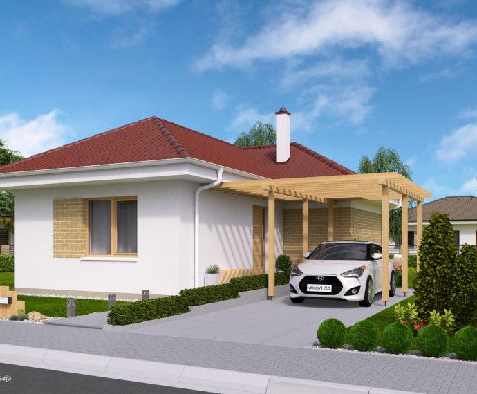 Проект одноэтажного дома с террасой P114 - фото №1