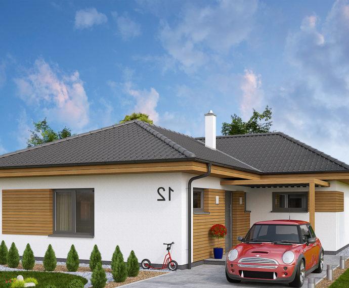 Проект одноэтажного дома с террасой P115 - фото №1