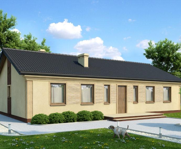 Проект одноэтажного дома с террасой P158 - фото №1