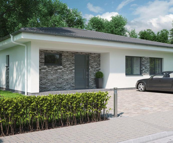Проект одноэтажного дома с террасой P95 - фото №1