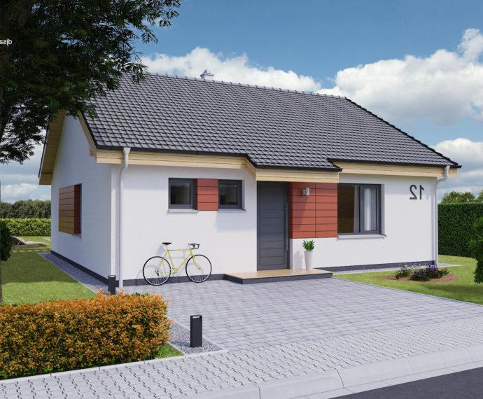 Проект одноэтажного дома с террасой P96 - фото №1