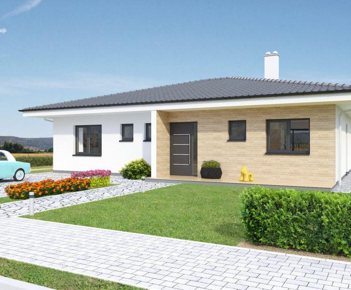 Проект одноэтажного дома с террасой P98 - фото №1