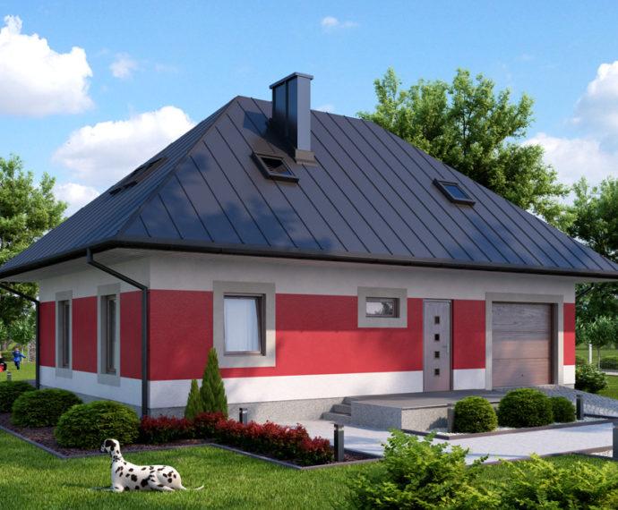 Проект мансардного дома с террасой и гаражом S103 - фото №1