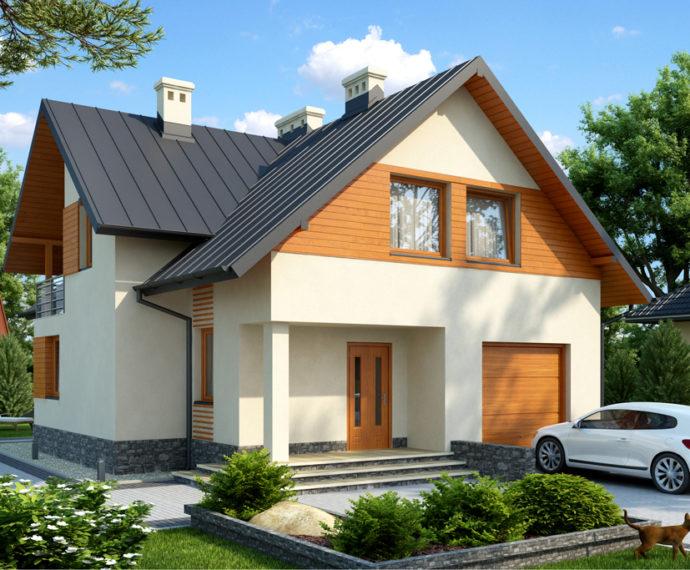 Проект мансардного дома с террасой и гаражом S152 - фото №1
