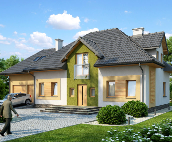 Проект мансардного дома с гаражом S168 - фото №1