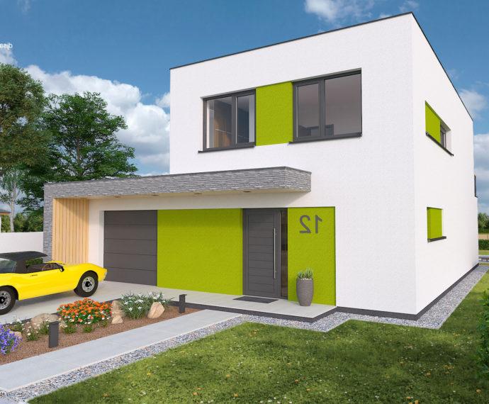 Проект двухэтажного дома с террасой и гаражом V32 - фото №1